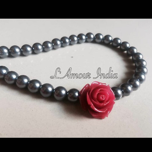 Grey pearls and Rose Neckpiece