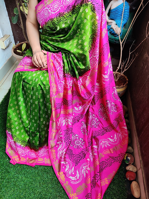 Green-pink printed silk