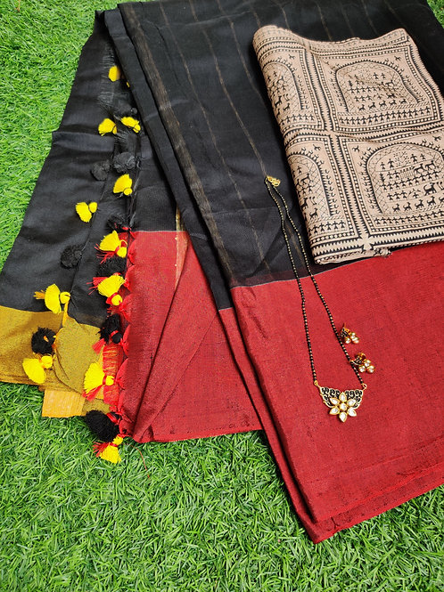 Handloom silk saree with warli blouse and mangalsutra set