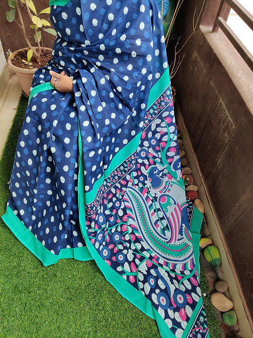 Blue Kalamkari Cotton Saree