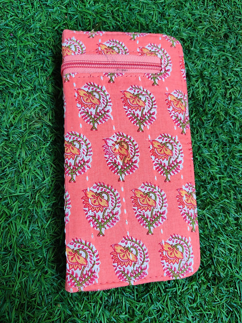 Pink block printed wallet-zip closure