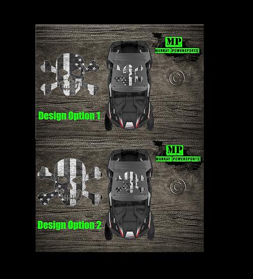 SXS/UTV/RZR/Truck/Car Black & White Weathered American Flag Skull Roof Decal