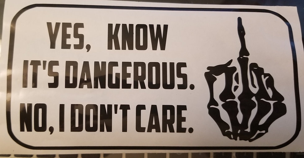 """Yes I Know It's Dangerous..."" Moody Decal"