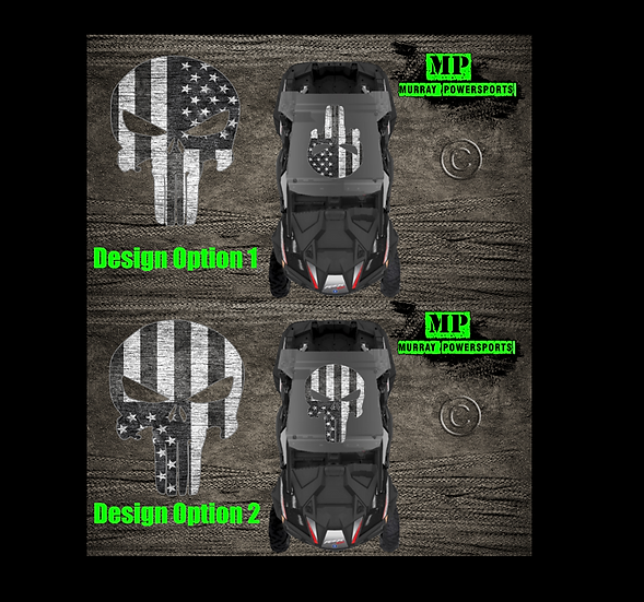 SXS/UTV/RZR/Truck/Car Black & White Weathered American Flag Punisher Roof Decal