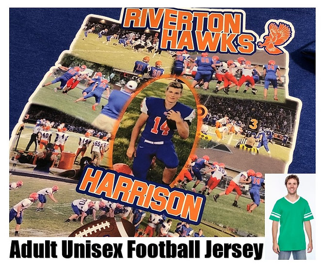 Customized Sports Photo Football Jersey *Adult* - Show your team spirit!