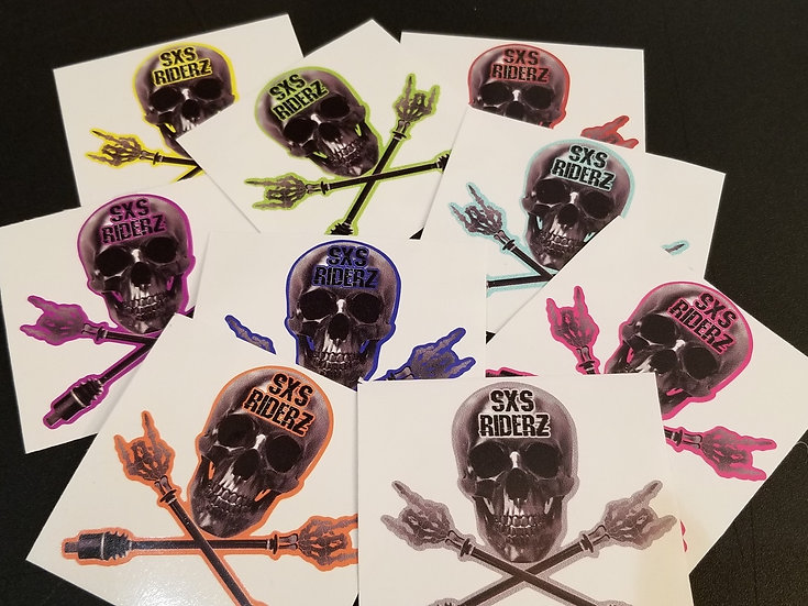 SXS RIDERZ SKULL DECAL - 3 Versions, Multiple Color & Size Options