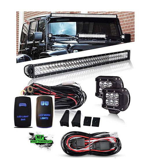 "LED Light Package - 42"" Light Bar + (2) 4"" Cubes + Hardware + Wiring & Switches"