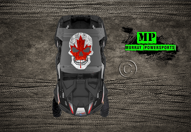 SXS/UTV/RZR/Truck/Car Weathered Canadian Flag Skull Roof Decal