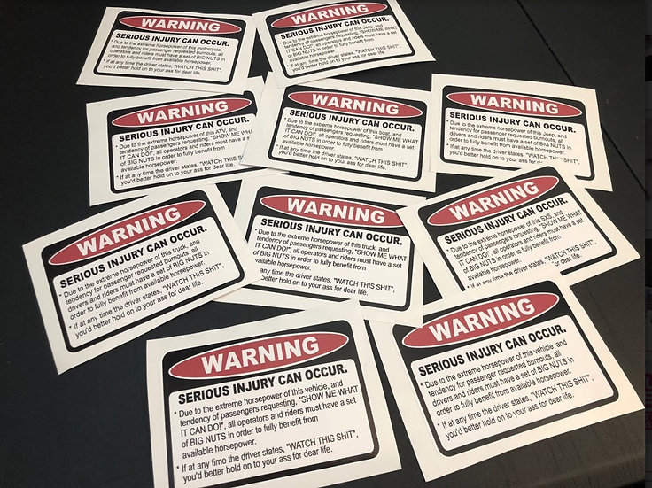 "WARNING ""Serious Injury Can Occur"" Decal - Multiple Versions & Sizes"