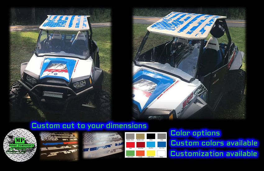 Distressed American Flag 2 seat  UTV/RZR/TRUCK/CAR  Roof Decal (color op