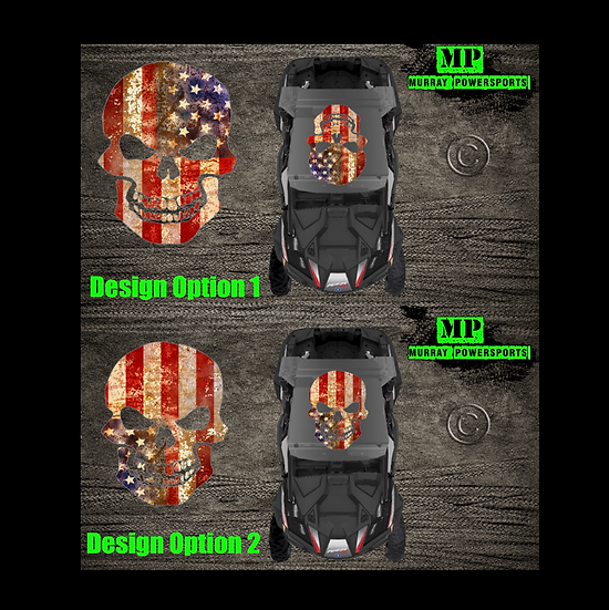 SXS/UTV/RZR/Truck/Car Weathered American Flag Skull Roof Decal