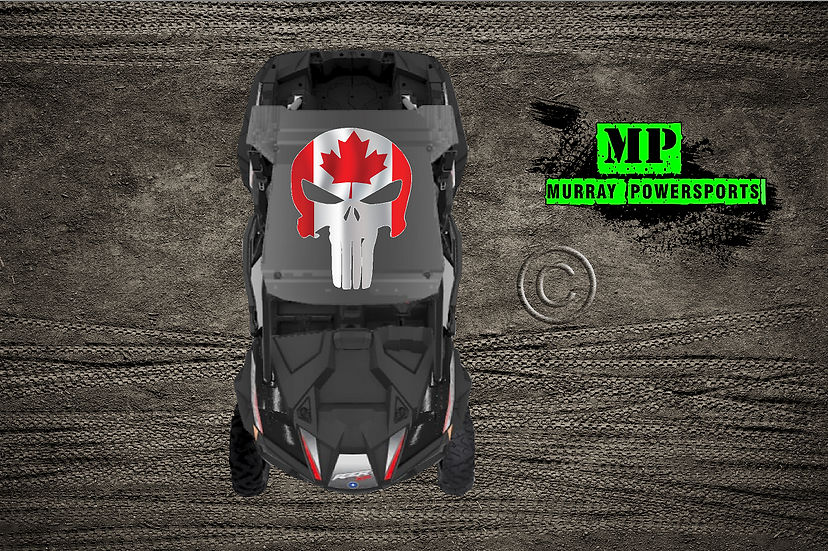 SXS/UTV/RZR/Truck/Car Canadian Flag Punisher Roof Decal