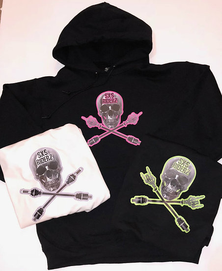 SXS RIDERZ  Skull  Hoodie 50/50 Blend *ADULT* - 3 Versions, Custom Shir