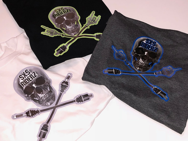 SXS RIDERZ  Skull T-Shirt 100% Cotton *YOUTH* - 3 Versions, Custom Shirt Colors