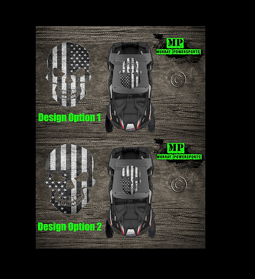 SXS/UTV/RZR/Truck/Car Black & White Weathered American Flag Skull Ro