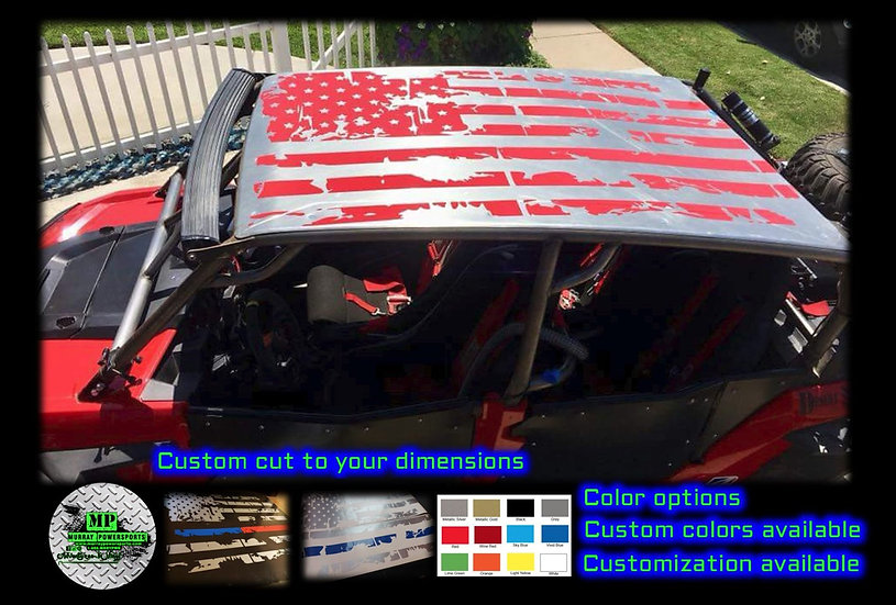 Distressed American Flag 4 seat  UTV/RZR/TRUCK/CAR  Roof Decal (color op