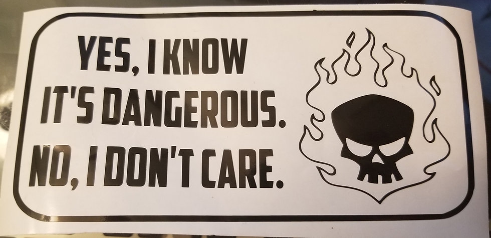 """Yes I Know It's Dangerous..."" Skull & Flames Decal"