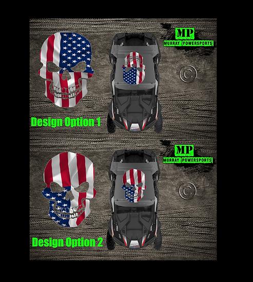 SXS/UTV/RZR/Truck/Car American Flag Skull Roof Decal