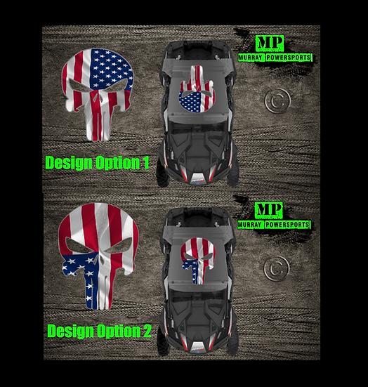 SXS/UTV/RZR/Truck/Car American Flag Punisher Roof Decal