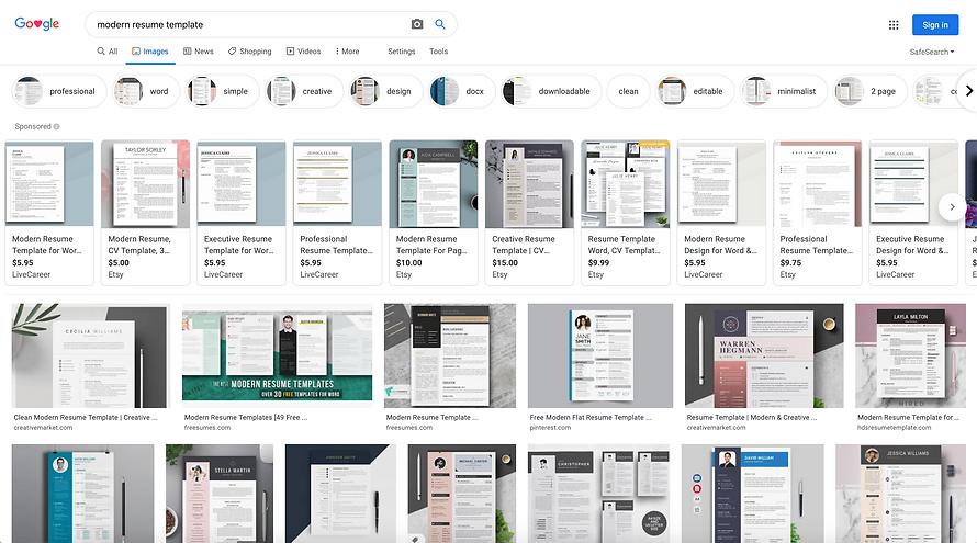 Modern resume templates seen on Google i