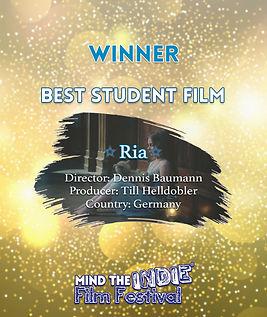 ria, dennis baumann, till helldobler, student film, mind the indie, film festival, filmfreeway
