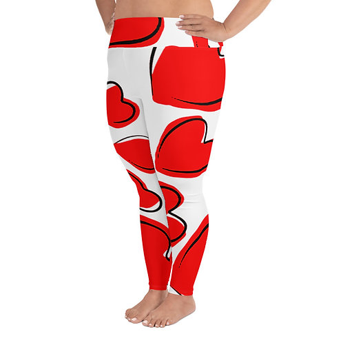 PS044- RED HEART BLACK LINE PRINT FOR PLUS SIZE LEGGINGS TEMPLATE FILE