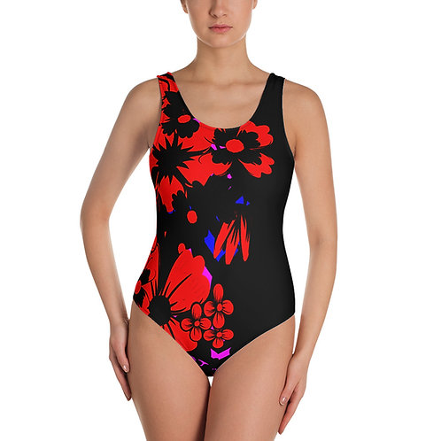 SS022 - RED FLORAL ART BLACK SWIMSUIT READY DESIGN PRINTFUL TEMPLATE FILE