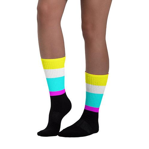 SK028- COLORFUL STRIPES PRINT FOR BLACK FOOT SOCKS PRINTFUL TEMPLATE FILE