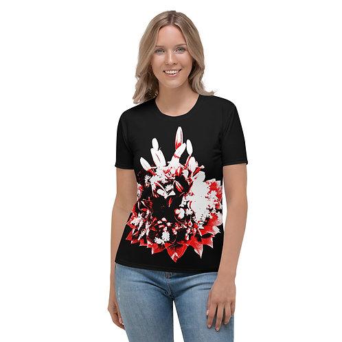 TW051 - FLOWERS BLACK WOMEN T-SHIRT PRINTFUL TEMPLATE FILE