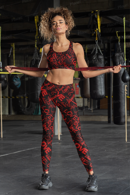 SL187- TYPO LOVE PRINT FOR ALL OVER LEGGINGS+SPORTS BRA SET PRINTFUL TEMPLATE