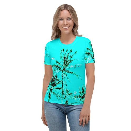 TW030 - PALM TREE BLUE WOMEN T-SHIRT PRINTFUL TEMPLATE FILE
