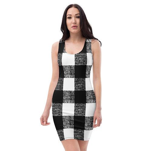 D45 - WHITE BLACK CHECKS PRINT FILE FOR ALL OVER DRESS TEMPLATE