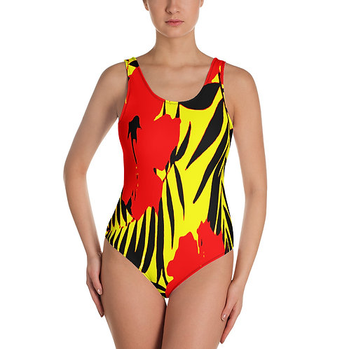 SS014 - FLOWER LEAF YELLOW SWIMSUIT READY DESIGN PRINTFUL TEMPLATE FILE