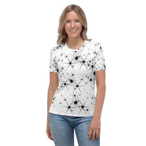 TW055 - BLACK STAR ART WHITE WOMEN T-SHIRT PRINTFUL TEMPLATE FILE
