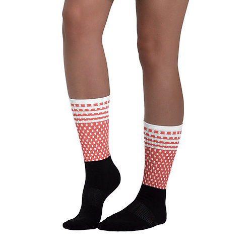 SK245- POLKA DOTS AND STRIPES PRINT FOR BLACK FOOT SOCKS TEMPLATE FILE