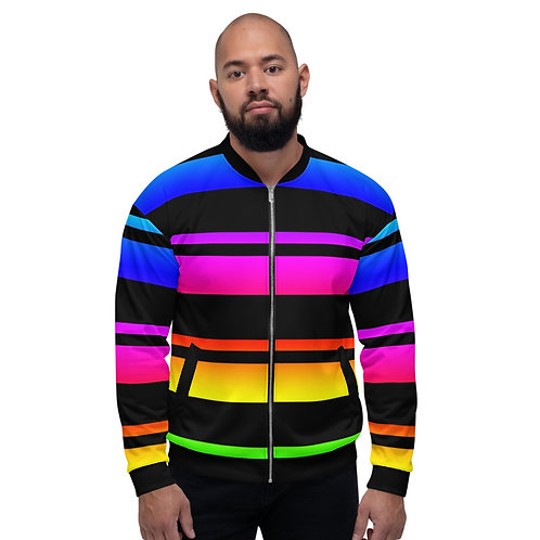 BJ038-  COLORFUL STRIPES PRINT FOR UNISEX BOMBER JACKET TEMPLATE FILE