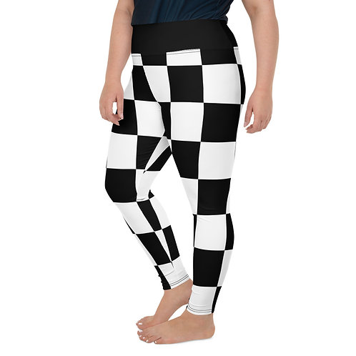 PS04- WHITE BLACK CHECKS PRINT FOR PLUS SIZE LEGGINGS PRINTFUL TEMPLATE FILE