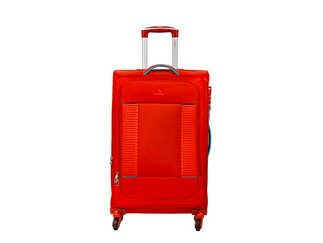 """EMBLEM Polyester Supreme 24"""" 60 cm Trolley Bag Suitcase 4 Wheel Spinner T Blue Color, Check in Lugga"""