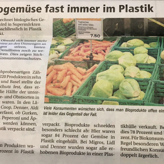 Zuger Woche and Konsumentenschutz attack plastic packaging in supermarkets