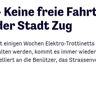 E-scooters in Zug - police warnings and ecological footprint