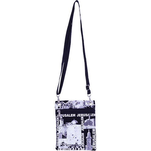Black and White Jerusalem Collage Passport Bag