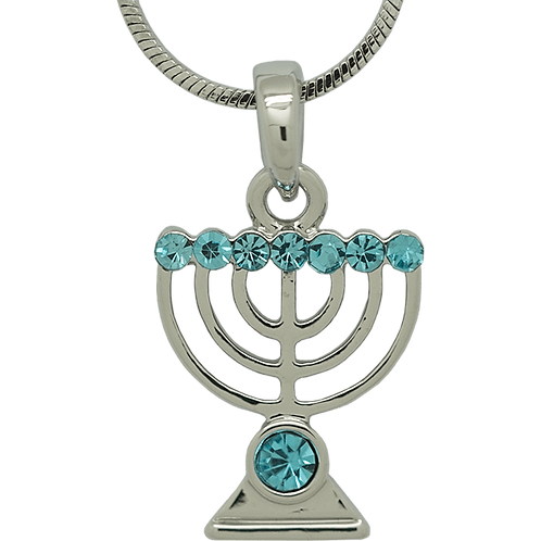 White Rhodium Menorah Pendant with Blue Crystals