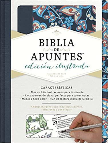 RVR 1960 Biblia de apuntes, edición ilustrada, tela en rosado y azul