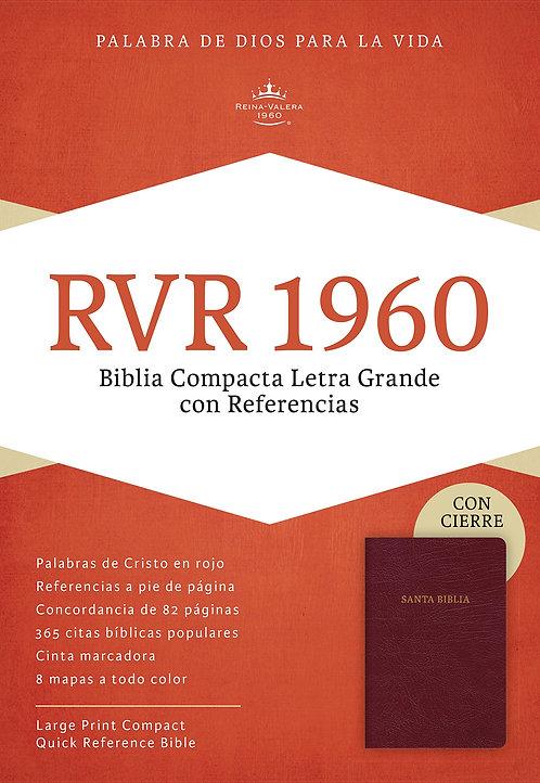 RVR 1960 Biblia Compacta Letra Grande, borgoña piel fabricada con cierre