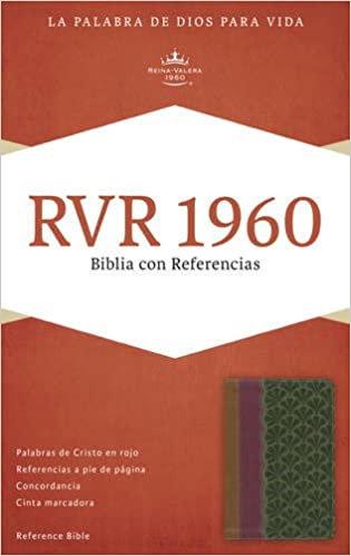 RVR 1960 Biblia con Referencias, chocolate/ciruela/verde jade símil piel