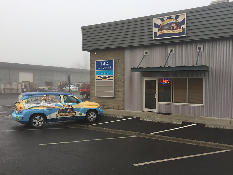 This picture is of the front of the building where Alaska Chip Company is located