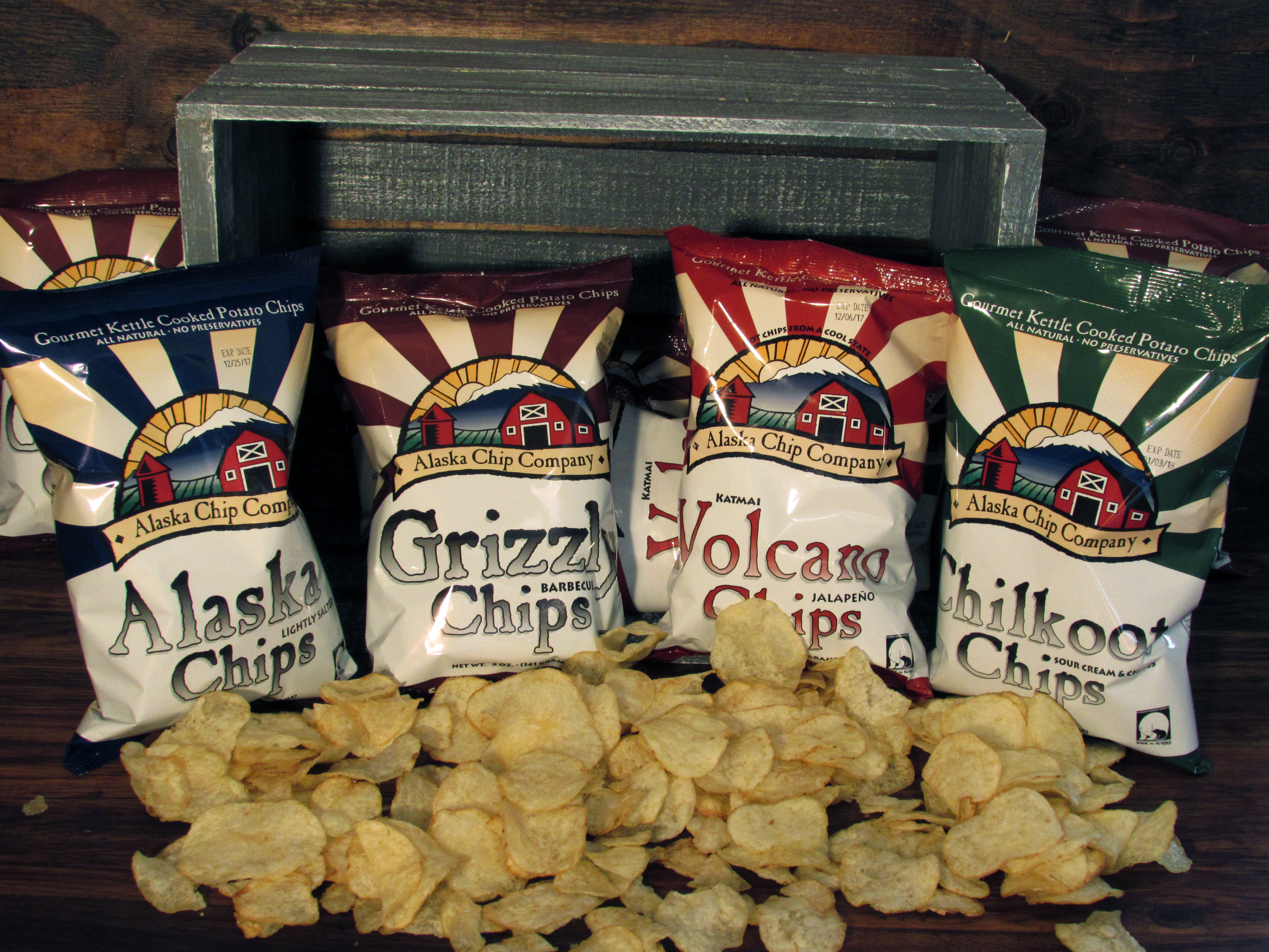 All flavors of Alaska potato chips