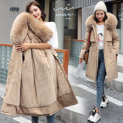 Adjustable Waist Fur Collar Winter Jacket