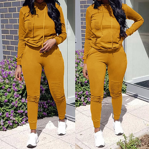 Winter Thick Fleece Hoodies Tops and Pants Two Piece Set