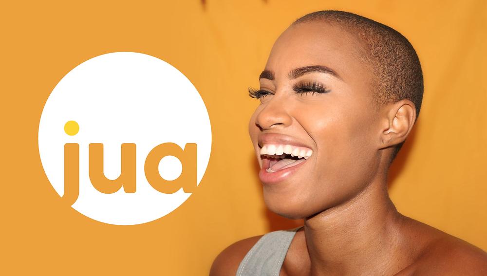 Jua Herbs logo with a happy woman